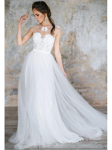 Chic Wedding Dresses A-line Scoop Rhinestone Short Train Tulle Bridal Gown JKW153