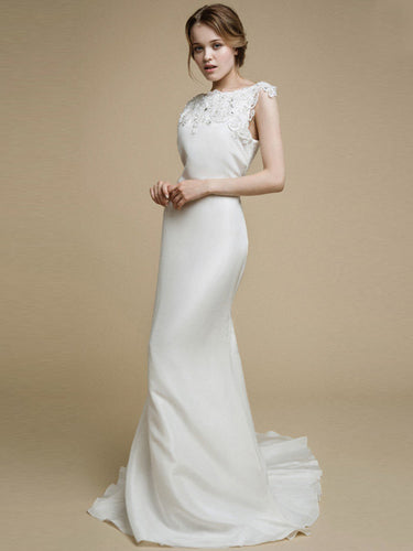 Chic Wedding Dresses Bateau Brush Train Backless Ivory Sexy Bridal Gown JKW154