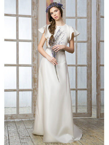 Simple Wedding Dresses Scoop A-line Floor-length Sexy Cheap Bridal Gown JKW155