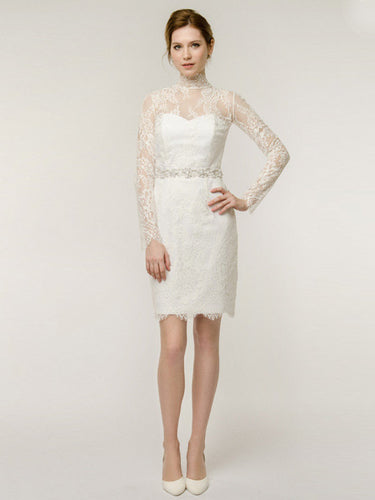 Short Wedding Dresses High Neck Sheath Ivory Lace Sexy Bridal Gown JKW156