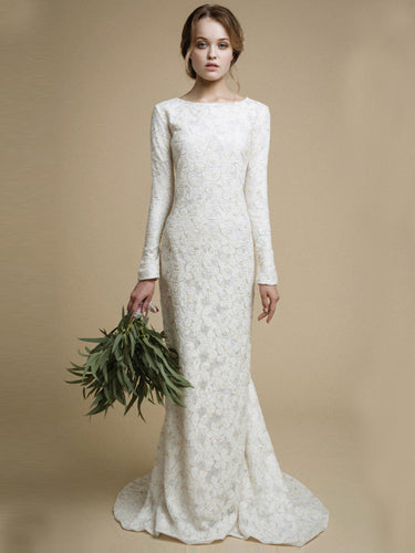 Long Wedding Dresses Scoop Sheath/Column Short Train Lace Sexy Bridal Gown JKW160