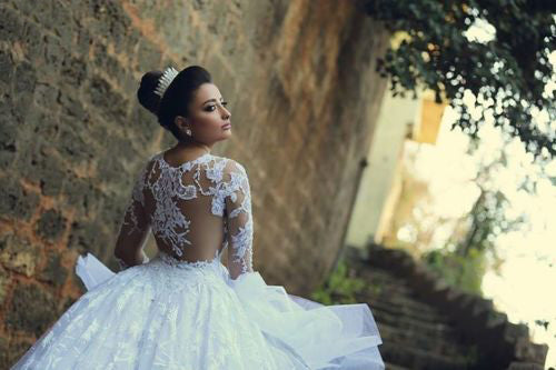 Huge Wedding Ball Gowns: Luxury Wedding Dresses Ball Gown Scoop Sweep Train White