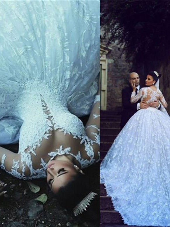 Luxury Wedding Dresses Ball Gown Scoop Sweep Train White Lace Big ...