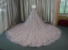 Ball Gown Wedding Dresses Luxury Brush Train Lace-up Sweetheart Tulle Bridal Gown JKW164
