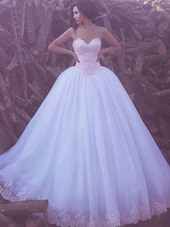 Ball Gown Wedding Dresses Sweetheart Floor-length Lace Big White ...