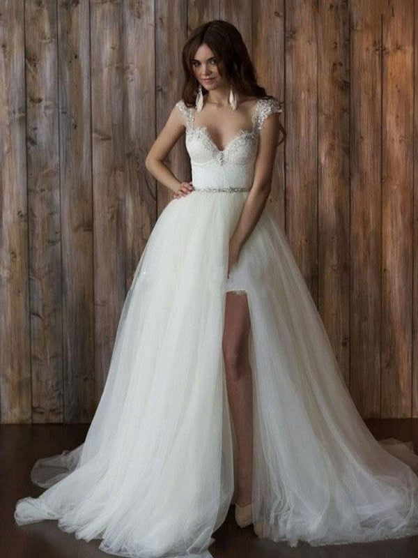 Beautiful Wedding Dresses Sweetheart Brush Train Sexy Lace Short Bridal Gown JKW168