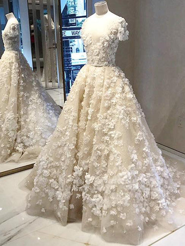 Luxury Wedding Dresses Ball Gown Scoop Sweep Train Lace Ivory Big Bridal Gown JKW171