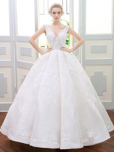 Luxury Wedding Dresses Ball Gown V-neck Sweep Train Lace Ivory Big Bridal Gown JKW173