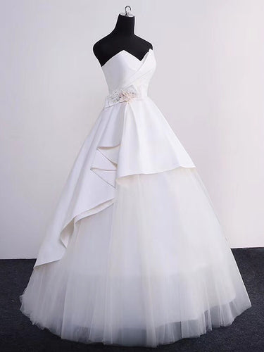 Ball Gown Wedding Dresses Sweetheart Floor-length Ivory Tulle Simple Bridal Gown JKW174