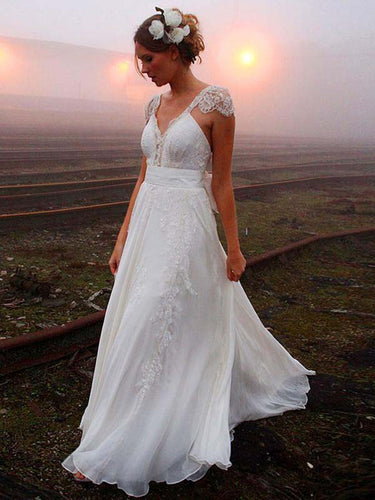 Cheap Wedding Dresses A-line V-neck Sweep Train Lace Ivory Simple Bridal Gown JKW176