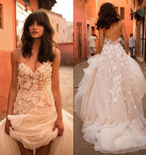 Cheap Wedding Dresses with Straps A-line Backless Brush Train Tulle Long Bridal Gown JKW178|Annapromdress