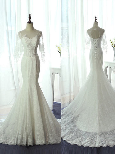 Mermaid Wedding Dresses Scoop Lace-up Brush Train Beautiful Lace Ivory Bridal Gown JKW179