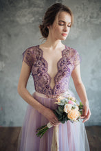 Lace Wedding Dresses Aline Short Train V-neck Chic Beading Bridal Gown JKW183|Annapromdress