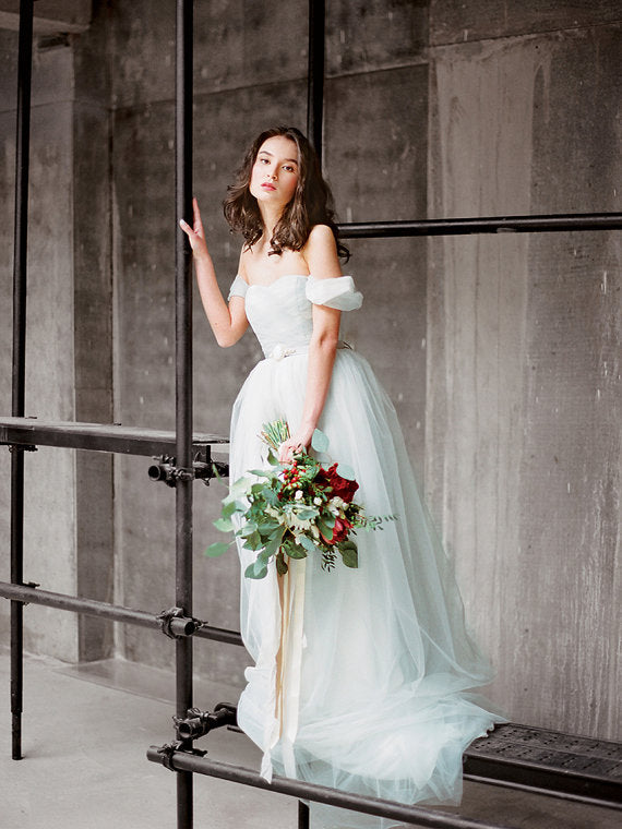 Cheap Wedding Dresses Off-the-shoulder Short Train Ruffles Simple Bridal Gown JKW184|Annapromdress