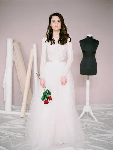 Long Sleeve Wedding Dresses Aline Floor-length Beautiful Lace Bridal Gown JKW185|Annapromdress