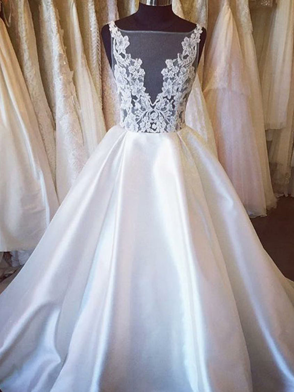 Ball Gown Wedding Dresses Vneck Open Back Sweep Train Lace Big ...