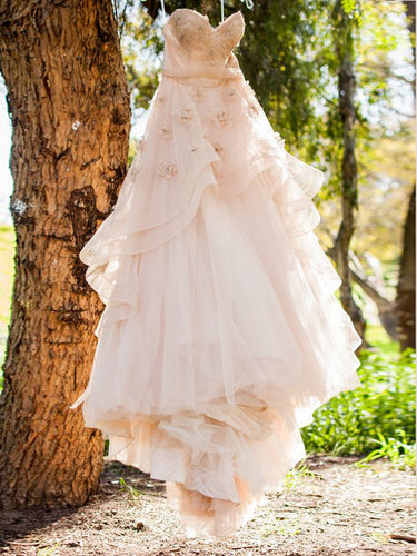Beautiful Wedding Dresses Aline Sweetheart Hand-Made Flower Chic Bridal Gown JKW188|Annapromdress