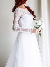 Lace Wedding Dresses Bateau Sweep Train Sexy Open Back White Bridal Gown JKW189|Annapromdress
