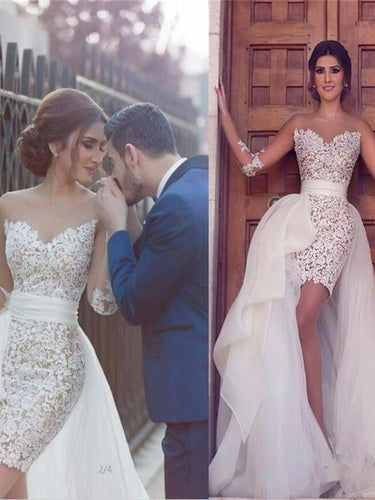 Long Sleeve Wedding Dresses Sheath Asymmetrical Chic Lace Bridal Gown JKW190|Annapromdress