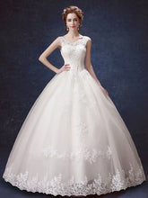 Ball Gown Wedding Dresses Scoop Lace-up Appliques Bowknot Big Bridal Gown JKW191|Annapromdress
