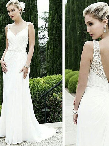 Beach Wedding Dresses with Straps V-neck Sexy Open Back Beading Bridal Gown JKW195|Annapromdress