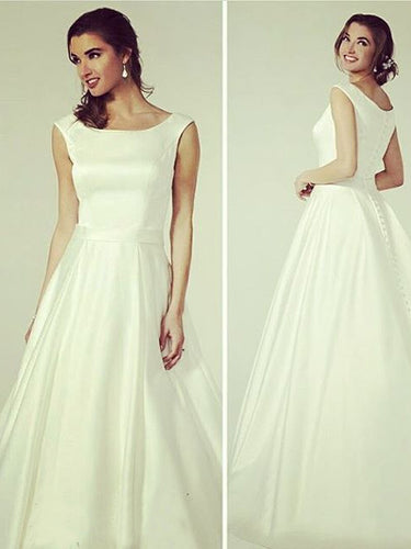 Cheap Wedding Dresses Aline Vintage Long Train Romantic Simple Bridal Gown JKW196|Annapromdress