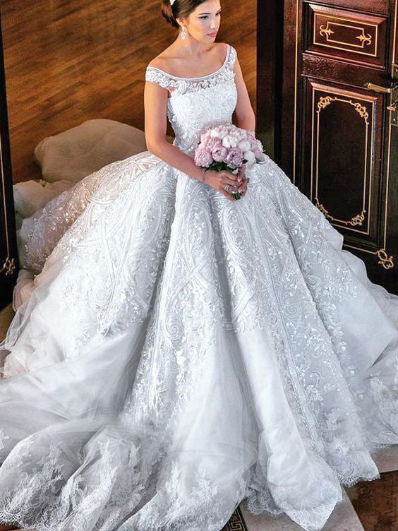 c2d1ccc0f9 Beautiful Wedding Dresses Ball Gown Off-the-shoulder Lace Big White Bridal  Gown JKW198