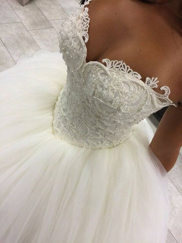 Ball Gown Wedding Dresses Romantic Sweetheart Beading Sexy Big Bridal Gown JKW199|Annapromdress