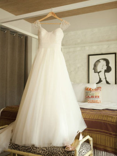 Beach Wedding Dresses Aline Sweetheart Sexy Beading Simple Tulle Bridal Gown JKW203|Annapromdress
