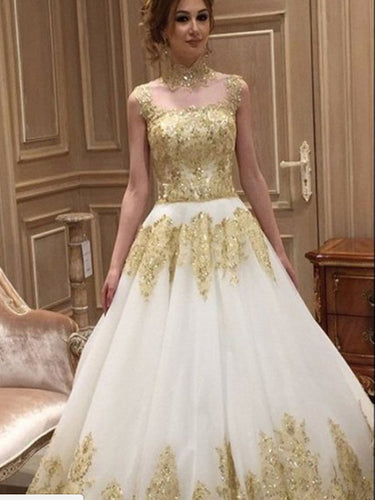 Beautiful Wedding Dresses Long Train Romantic Gold Appliques Big Bridal Gown JKW204|Annapromdress