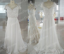 Sparkly Wedding Dresses Romantic A-line V-neck Beading Sexy Chiffon Bridal Gown JKW210|Annapromdress
