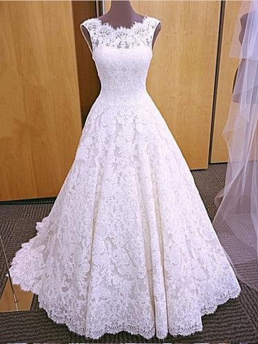 Open Back Wedding Dresses Aline Short Train Chic Romantic Lace Bridal Gown JKW212|Annapromdress