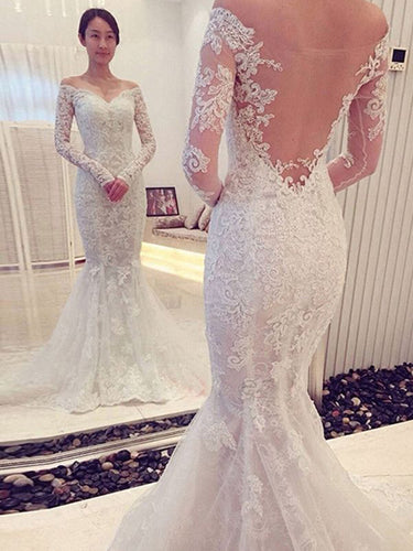 Long Sleeve Wedding Dresses Off-the-shoulder Mermaid Lace Chic Bridal Gown JKW213|Annapromdress