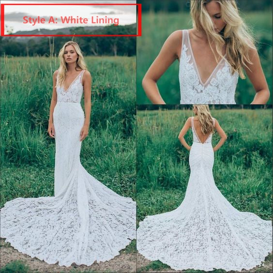7a1f861afee91 ... Beach Wedding Dresses Mermaid Straps V-neck Sweep Train Lace Sexy  Bridal Gown JKW214| ...