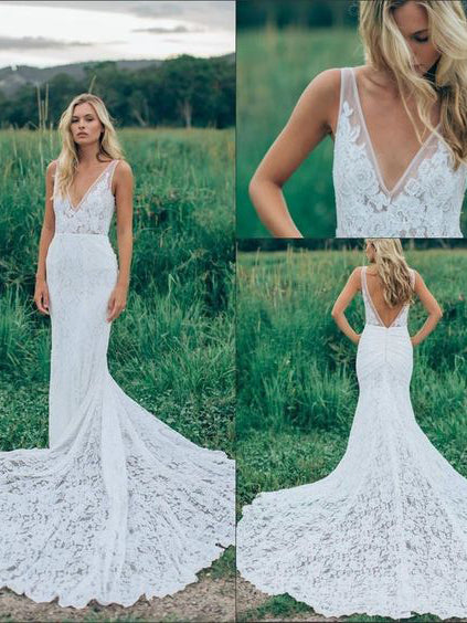 Beach Wedding Dresses Mermaid Straps V-neck Sweep Train Lace Sexy Bridal Gown JKW214|Annapromdress