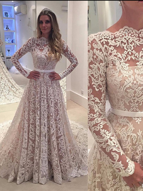 Long Sleeve Wedding Dresses Sweep Train A Line Lace Chic Open Back