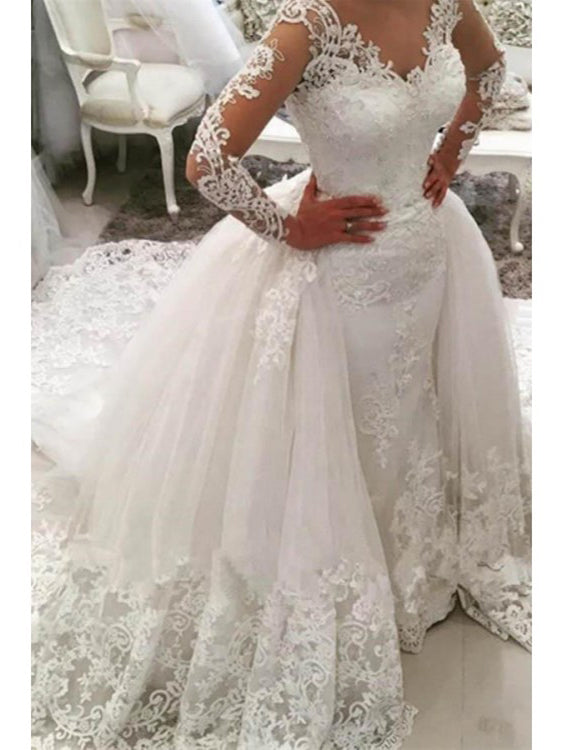 Luxury Wedding Dresses Long Sleeve Sheath V-neck Long Train Lace ...