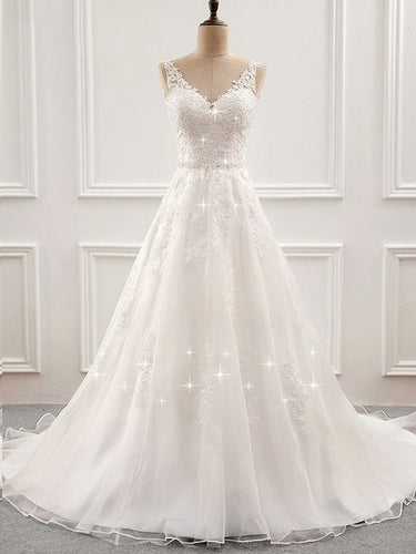 Open Back Wedding Dresses Long Train Romantic Appliques Simple Bridal Gown JKW218|Annapromdress