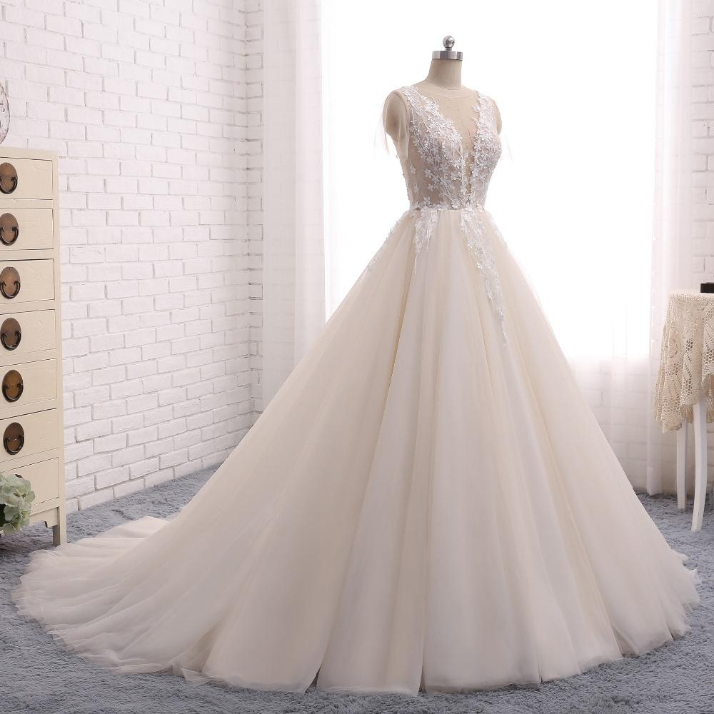 Ball Gown Wedding Dresses Romantic Long Train Short Sleeve Lace Big Bridal Jkw219annapromdress: Big Wedding Dresses Lace At Reisefeber.org