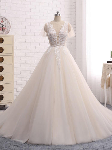 Ball Gown Wedding Dresses Romantic Long Train Short Sleeve Lace Big Bridal Gown JKW219|Annapromdress