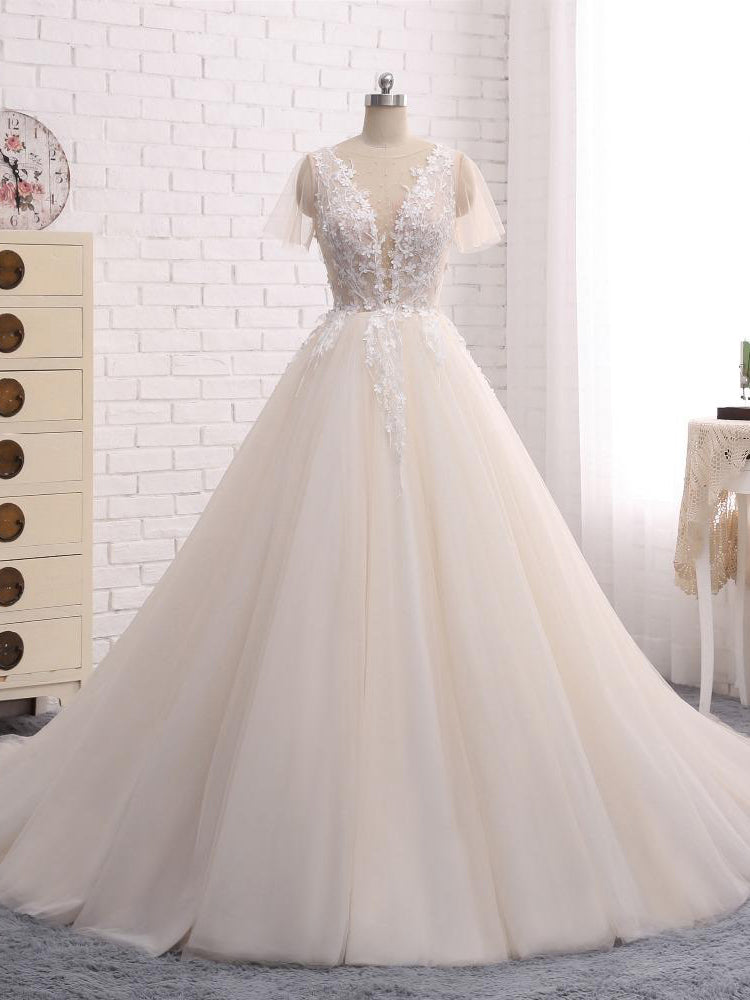Ball Gown Wedding Dresses Romantic Long Train Short Sleeve Lace Big