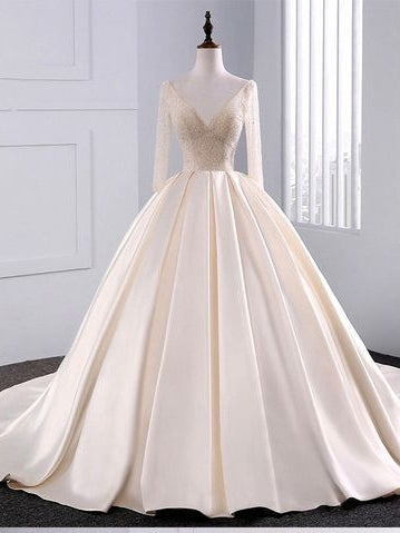 Ball Gown Wedding Dresses Long Train Beading V-neck Sexy Big Colored Bridal Gown JKW220|Annapromdress