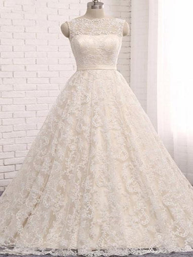 Open Back Wedding Dresses Romantic Ball Gown Long Train Beautiful Lace Bridal Gown JKW222|Annapromdress