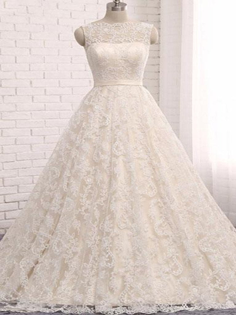 Open Back Wedding Dresses Romantic Ball Gown Long Train Beautiful ...
