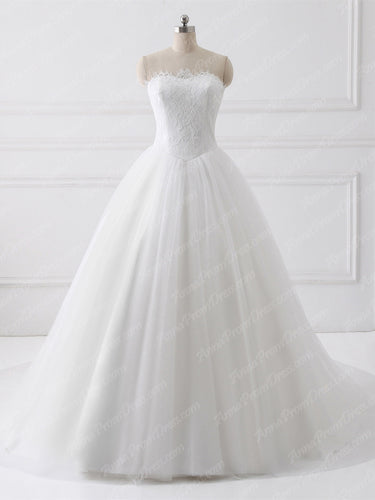 Ball Gown Wedding Dresses Sweetheart Sweep Train Lace Tulle Romantic Bridal Gown JKW223|Annapromdress