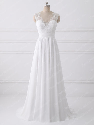 Cheap Wedding Dresses V-neck Aline Short Train Open Back Lace Simple Bridal Gown JKW224|Annapromdress