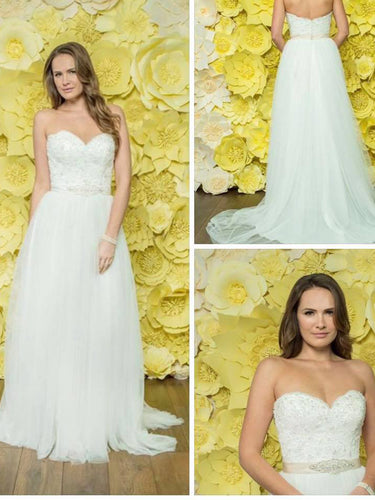 Simple Wedding Dresses Sweep Train A-line Lace Sweetheart Chic Bridal Gown JKW225|Annapromdress