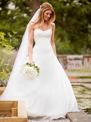 Romantic Wedding Dresses Sweetheart Short Train Lace Chiffon Bridal Gown JKW227|Annapromdress