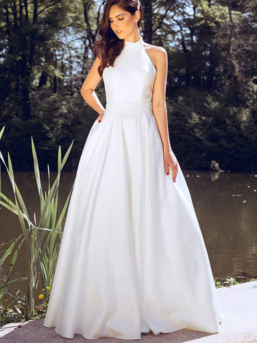 Simple Wedding Dresses Floor-length A-line Beading Halter Cheap Bridal Gown JKW228|Annapromdress