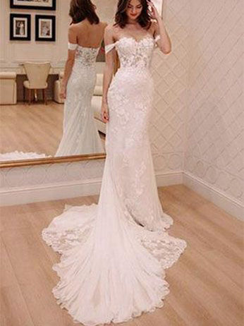 Lace Wedding Dresses Sheath Off-the-shoulder Long Train Sexy Bridal Gown JKW229|Annapromdress
